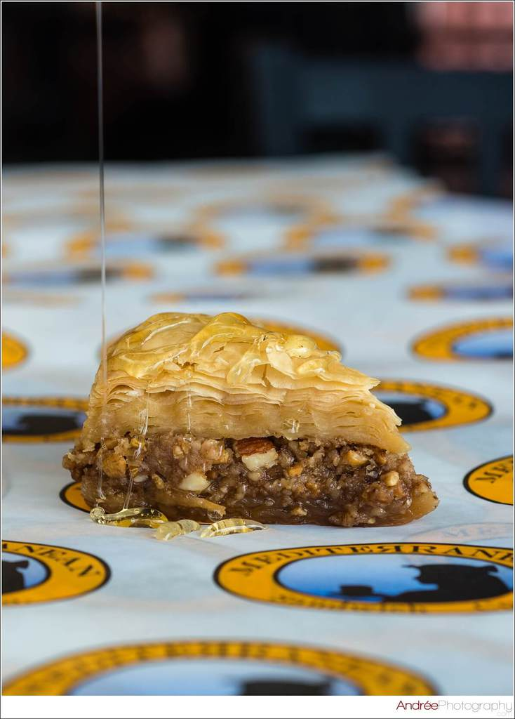 food photos baklava with poured honey