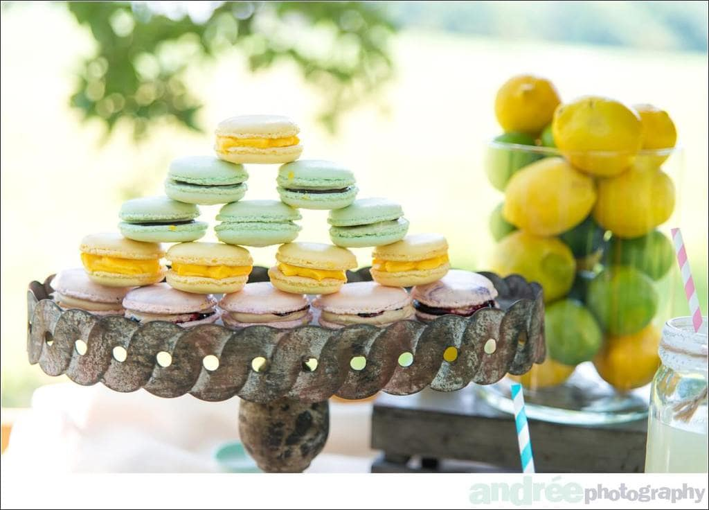 lemonade stand with french macaroons