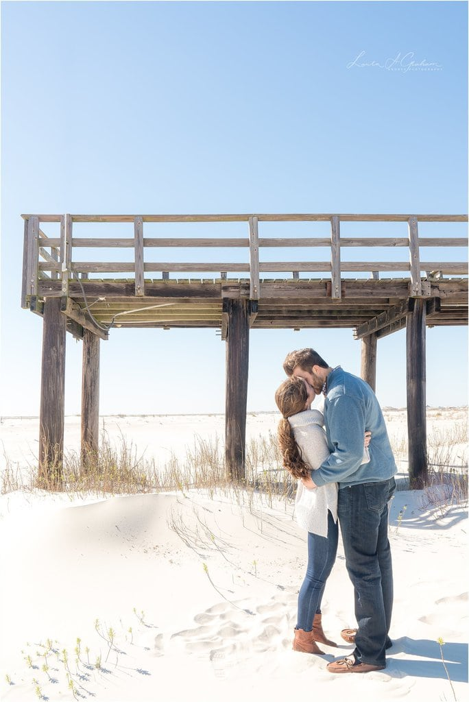 dauphin-island-windy-pier-wild-trees-beach-engagement-session-peyton-addison_0015 Peyton and Addison {Married} - Previews | Weeks Bay Plantation Alabama Wedding Photographer Business Wedding